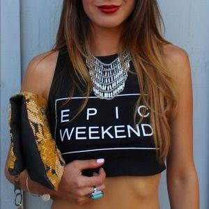 Epic Weekend Graphic Crop Top